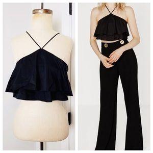 Zara 🌸 Black Ruffle Crop Top w/ Halter Neckline